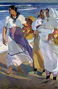Shores Painting Framed Prints - Valencian Fisherwomen Framed Print by Joaquin Sorolla y Bastida