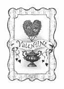Hearts Drawings Framed Prints - Valentine Framed Print by Adam Zebediah Joseph