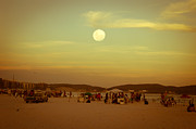 Panorama Digital Art Originals - Valentine Beach Moom by Ordi Calder