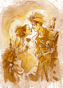 Steampunk Framed Prints - Valentine Framed Print by Brian Kesinger