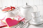 Porcelain-white.           Posters - Valentine cookies with teapot and cups Poster by Sandra Cunningham
