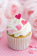 Fairy Hearts Pink Flower Metal Prints - Valentine cupcake Metal Print by Ruth Black