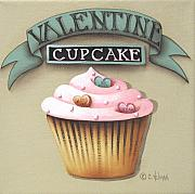 Candy Paintings - Valentine Cupcake Small by Catherine Holman