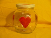 Hearts Glass Art - Valentine Jar by Sophia Landau
