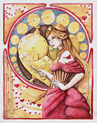 Steam Punk Painting Posters - Valentine Poster by Melia Newman