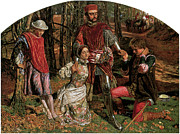 Rescuing Prints - Valentine Rescuing Slyvia fro Proteus Print by William Holman Hunt