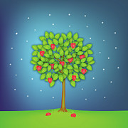 Single Tree Prints - Valentine Tree With Hearts And Stars Print by OldBag Illustrations