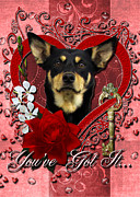 Kelpies Framed Prints - Valentines - Key to My Heart Australian Kelpie Framed Print by Renae Frankz