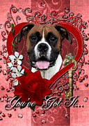 Boxer Digital Art Metal Prints - Valentines - Key to My Heart Boxer Metal Print by Renae Frankz