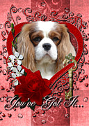 Sweetest Day Prints - Valentines - Key to My Heart Cavalier King Charles Spaniel Print by Renae Frankz