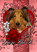 Collie Digital Art Metal Prints - Valentines - Key to My Heart Collie Metal Print by Renae Frankz