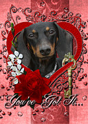 Dachshund Digital Art Framed Prints - Valentines - Key to My Heart Dachshund Framed Print by Renae Frankz