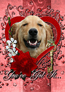 Valentines - Key To My Heart Golden Retriever Print by Renae Laughner