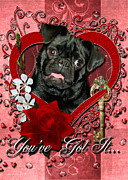 Pug Valentine Framed Prints - Valentines - Key to My Heart Pug Framed Print by Renae Frankz
