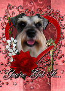 Sweetest Day Prints - Valentines - Key to My Heart Schnauzer Print by Renae Frankz