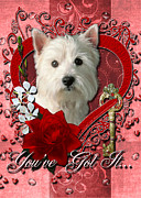 Sweetest Day Prints - Valentines - Key to My Heart West Highland Terrier Print by Renae Frankz