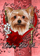 Sweetest Day Prints - Valentines - Key to My Heart Yorkshire Terrier Print by Renae Frankz