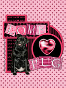 Pug Valentine Framed Prints - Valentines - Sweetest Day - Love Pug Framed Print by Renae Frankz