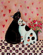 Blackandwhite Painting Posters - Valentines Cats Poster by Mary Stubberfield