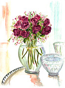 Floral Metal Prints - Valentines Crystal Rose Metal Print by Clara Sue Beym