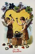 Putto Posters - Valentines Day Card, 1900 Poster by Granger