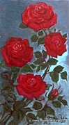 Folkartanna Paintings - Valentines Red Roses by Anna Folkartanna Maciejewska-Dyba