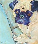 Dog Portraits Pastels Framed Prints - Valentino Framed Print by Pat Saunders-White
