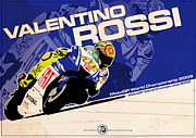 2009 Digital Art Prints - Valentino Rossi - MotoGP 2009 Print by Evan DeCiren