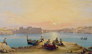 Buildings At Sunset Prints - Valetta Harbour at Sunset Print by Henry Charles Ferro