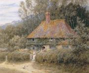 Country Cottage Prints - Valewood Farm under Blackwood Surrey  Print by Helen Allingham