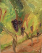 Wineries Paintings - Valhalla Vineyard by Donna Tuten