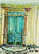 Entrance Door Mixed Media Prints - Valkommen Print by Helena Bebirian
