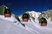 Valle Blanche Aerial Tramway Cabins, Rhone-alpes, France, Europe Print by John Elk III