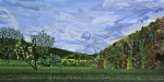 Abstract Landscape Paintings - Valle Crucis 1 View from Herb Thomas Road by Micah Mullen