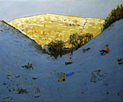 Tobogganing Prints - Valley and sunlit hillside Print by Andrew Macara