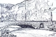 Yosemite Drawings - Valley Bridge by DJ Laughlin