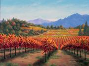 California Vineyard Paintings - Valley Fall by Patrick ORourke
