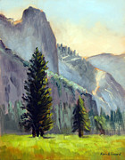 Yosemite Painting Framed Prints - Valley Glow Yosemite NP Framed Print by Karin  Leonard