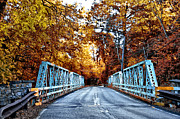 Philadelphia Cricket Club Digital Art Posters - Valley Green Road Bridge in Autumn Poster by Bill Cannon