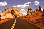 Road Travel Drawings Prints - Valley of Fire - Nevada Landscape Print by Peter Art Prints Posters Gallery