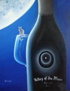 Red Wine Bottle Mixed Media Prints - Valley of The Moon Print by Ksusha Scott