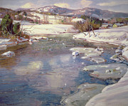 Snowy Stream Paintings - Valley Stream in Winter by George Gardner Symons