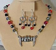 Red Jewelry - Vampires Smile Necklace Set by Kim Souza