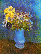 Moonlight Paintings - Van Gogh - Vase mit Flieder Margeriten und Anemonen by Pg Reproductions