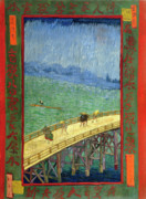 Vincent Van Gogh Posters - Van Gogh Bridge in Rain after Hiroshige Poster by Vincent Van Gogh
