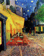Anniversary Painting Posters - Van Gogh Cafe Terrace Place du Forum at Night Poster by Vincent Van Gogh