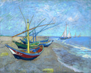 Fishing Art On Canvas Posters - Van Gogh Fishing Boats Saintes Maries Poster by Vincent Van Gogh