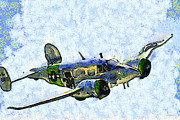 7 Digital Art - Van Gogh Flies A Twin Beech C-45 Expeditor . 7D15392 by Wingsdomain Art and Photography