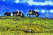 Bulls Digital Art Prints - Van Gogh Goes Cow Tipping 7D3290 Print by Wingsdomain Art and Photography