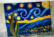 Blue Pyrography - Van Gogh Graffiti by Ken Williams